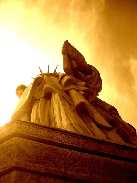 Standing at the feet of liberty